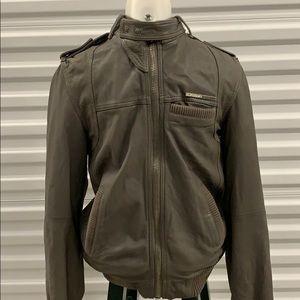 SuperDry grey leather jacket